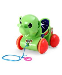 Kids Zone Musical Pull Along Elephant - Green