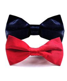 NEO NATIVES Pack Of 2 Satin Bow Tie - Navy Blue  & Red