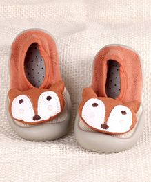 Hoppipola Fox Face Decorated Sock Shoes - Brown