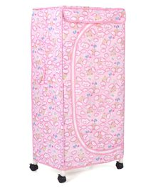 New Natraj Wardrobe With Wheels Bear & Heart Print - Pink