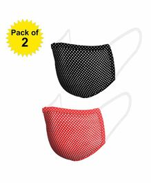 Hugsnug 3 Layer Kids Masks Black & Red Polka - Pack of 2