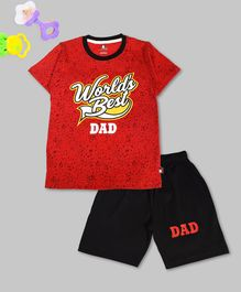 Crazy Penguin Half Sleeves World's Best Dad Printed T-Shirt & Shorts Set - Red