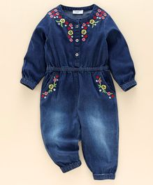 Babyoye Full Sleeves Denim Jumpsuit Floral Embroidery - Blue