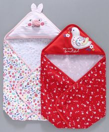 Babyoye Cotton Hooded Wrapper Set of 2 - Red White