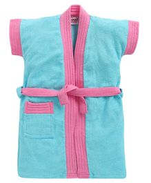BUMZEE Solid Colour Half Sleeves Bathrobe - Blue & Pink
