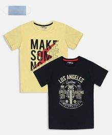 Li'L tomatoes Combo Pack Of 2 Los Angeles Printed  T-Shirt With Free 3-Ply Face Mask - Lemon & Black