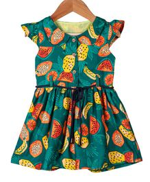My Meo Cap Sleeves Watermelon Printed Flared Dress - Green