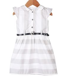 My Meo Cap Sleeves Striped Dress With Belt - Grey