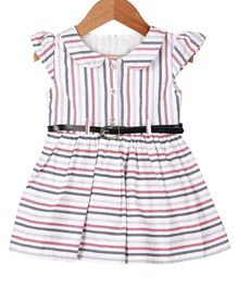 My Meo Cap Sleeves Striped Flared Dress With Belt - Multicolor