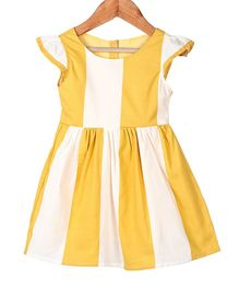 My Meo Striped Cap Sleeves Dress - Yellow