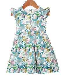My Meo Cap Sleeves Flowers Printed Flared Dress - Multicolor