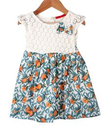 My Meo Cap Sleeves Fruit Printed Flared Dress - White