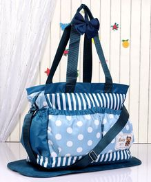 Diaper Bag with Changing Mat Striped & Polka Dots - Blue