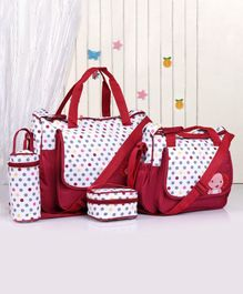 Diaper Bag Set Crocodile Embroidery - Red
