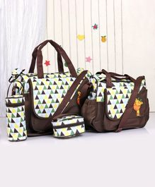 Diaper Bag Set Crocodile Embroidery - Brown