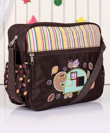 Diaper Bag with Tortoise Embroidery - Brown