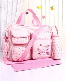 Diaper Bag with Changing Mat & Bottle Holder Polka Dots - Pink