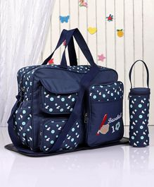 Diaper Bag with Changing Mat & Bottle Holder - Blue