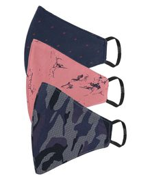 AKSHARA 2Ply Camouflage Printed Pack Of 3 Masks - Navy & Peach
