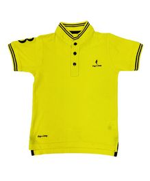 Hop n Jump Half Sleeves Solid Polo T-Shirt - Yellow
