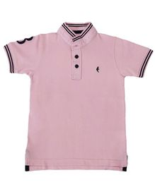 Hop n Jump Half Sleeves Solid Polo T-Shirt - Pink