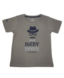 Hop n Jump Baby Boss Printed Half Sleeves T-Shirt  - Grey