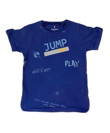 Hop n Jump Jump & Play Graphic Half Sleeves Tee - Dark Blue