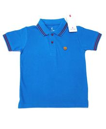 Hop n Jump Solid Half Sleeves Polo Tee - Royal Blue