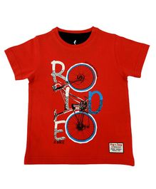 Hop n Jump Ride With Me Print Half Sleeves Tee - Red