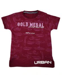 Hop n Jump Urban Gold Medal Print Half Sleeves Tee - Purple