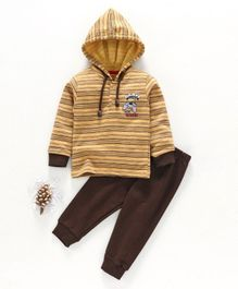 Cucumber Winter Wear Full Sleeves Hooded Tee & Lounge Pant California Print - Yellow Brown