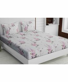 Haus & Kinder Garden Floral 100% Cotton Bed Sheet with 2 Pillow Covers - White