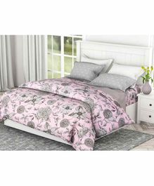 Haus & Kinder Floral 100% Cotton Bed Sheet with 2 Pillow Covers - Pink