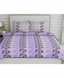 Haus & Kinder Floral Vintage 100% Cotton Bed Sheet with 2 Pillow Covers - Purple
