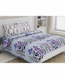 Haus & Kinder Dream Floral 100% Cotton Bed Sheet with 2 Pillow Covers - Blue
