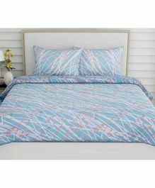 Haus & Kinder Modern Abstract 100% Cotton Bed Sheet with 2 Pillow Covers - Blue