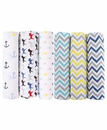 Haus & Kinder 100% Cotton Muslin Chevron & Printed Swaddle Wrappers Set of 6 - Multicolour