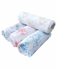 Rio Printed Cotton Swaddle Wrapper Pack of 4 - Multicolor