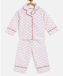 Nauti Nati Full Sleeves Circle Printed Night Suit - White & Red