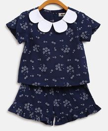 Nauti Nati Short Sleeves Floral Print Night Suit - Navy Blue