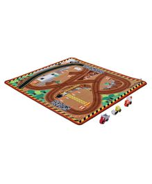 Melissa & Doug Work Site Rug with Wooden Trucks - Multicolour