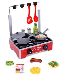 Melissa & Doug Deluxe Wooden Cooktop Set with Wooden Play Food Multicolor - 19 Pieces