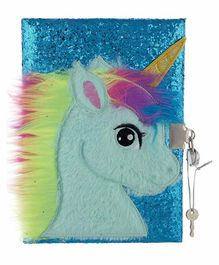 Mirada Unicorn with Horn Glitter Notebook/Diary - Turquoise