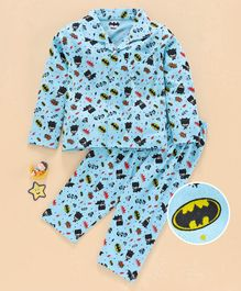 Eteenz Full Sleeves Night Suit Batman Print - Blue