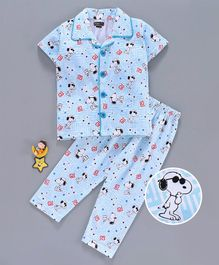 Eteenz Half Sleeves Night Suit Snoopy Print - Blue White