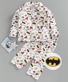 Eteenz Full Sleeves Night Suit Super Heroes Logo Print - White