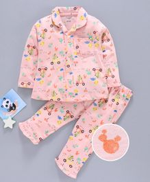 Cucumber Full Sleeves Night Suit Multiprint - Pink