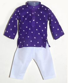 JAV Creations Bandhani Full Sleeves Kurta & Pyjama Set - Purple & White