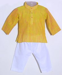 JAV Creations Handloom Self Printed Full Sleeves Kurta With Pyjama Set - Yellow Green & White