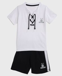 KIDSCRAFT Half Sleeves Knot Style Tee With Shorts - White